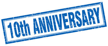 10th anniversary square stamp Royalty Free Stock Photography