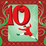 10th Day of Christmas. Vector Illustration Card for the 12 days of Christmas. Ten Lords Leaping Vector Illustration