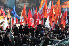 10th March 2012. Opposition meeting in Moscow. 10th March 2012. Opposition in the meeting For the fair election on New Arbat street. People with standards Stock Image