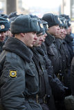 10th March 2012. Police formation. Near place of meeting For the fair election on New Arbat street Royalty Free Stock Photo