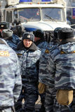 10th March 2012. Special police forces. 10th March 2012. Special policy forces are protecting opposition meeting For the fair election on New Arbat street Stock Photo