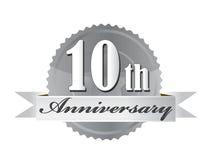 10th skyddsremsa för årsdagdesignillustration Arkivbilder