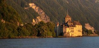 11个大别墅chillon de全景瑞士 免版税库存照片
