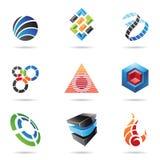 11个抽象五颜六色的图标设置了多种 免版税库存照片