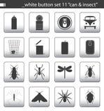 11个按钮集合白色 免版税库存照片
