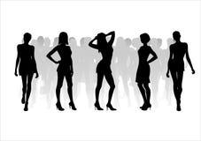 11个方式剪影妇女 免版税图库摄影