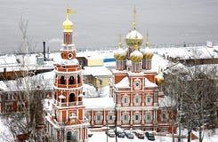 11月一日雪的Stroganov教会 图库摄影
