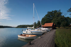 11条小船码头瑞典 库存图片
