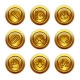 11 икона золота кнопки установили сеть Стоковое фото RF