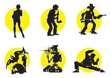 11 силуэт икон кино Стоковые Изображения RF