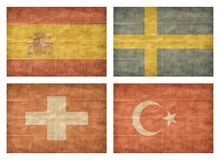 11/13 Flags of European countries. Vintage collection of european country flags isolated on white background. Spain, Sweden, Switzerland, Turkey vector illustration