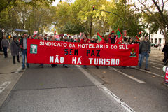 11 20 2010 против протестов НАТО Португалии lisbon Стоковое Фото