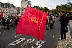 11 20 2010 mot protester för lisbon nato portugal Arkivfoto