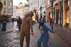 Free 11/23/2017. Prague, Czech Republic. A Couple In Funny Costumes Walks Around The City, Going Crazy Royalty Free Stock Image - 189154426