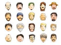 有胡子例证的,没有刮脸11月人 免版税库存图片