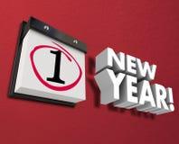 新年历日墙帷第一天1月1日 图库摄影