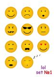 11 funny faces for chat. Vector set with 11 funny faces for chat Stock Photo