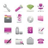 11 icona viola dell'ufficio Immagini Stock