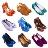 11 mångfärgade skor för kvinnlig Arkivfoto