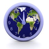 11 oclock. 3d rendered clock showing the time with earth background Royalty Free Stock Images