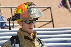 11 sep, 2011 - beklimt de HerdenkingsTrede van de Brandbestrijder Stock Fotografie