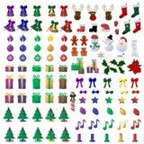 110个圣诞节图标 库存图片
