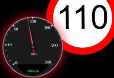 110 km / h maximum speed. Sign ban vector illustration