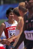 110 Meter Hürdemannjapan yazawa Händedruck Lizenzfreie Stockfotos