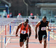 110 meter hurdles at the 2011 Penn Relays Stock Photo