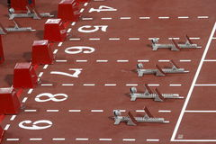 110-meter hurdles Blocks Royalty Free Stock Images