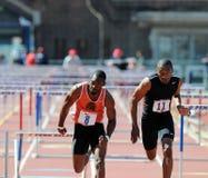 110 metershindernissen bij de 2011 Relais Penn Stock Foto
