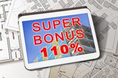 Free 110 State Bonus, Called Super Bonus 110, And Money Concession For The Construction Of Building Works To Improve The Thermal Stock Photos - 213572093