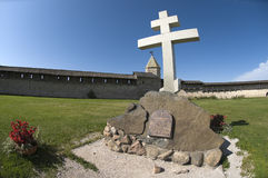 By 1100 anniversary. Memorial cross to the 1100th anniversary of the Pskov Kremlin Stock Image
