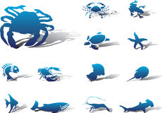 111a ustawiać rybie ikony Zdjęcie Stock