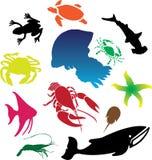 111c rybie ikony ustawiają Zdjęcia Royalty Free