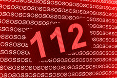 112 Rescue Number. An illustrated background of an SOS number 112 for calling an ambulance, in red design vector illustration