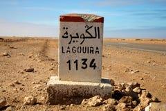 1134 km lagouira Arkivfoton