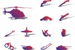 113a ikony ustawiają broń royalty ilustracja