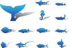 11a εικονίδια ψαριών που τίθ&eps Στοκ Εικόνες