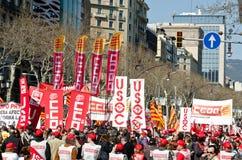 11M - as uniões protestam em Barcelona Fotografia de Stock