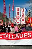 11m barcelona protestunioner Arkivfoton
