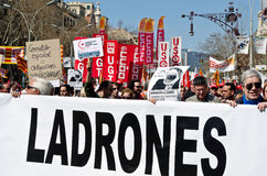 11m barcelona protestunioner Royaltyfri Foto