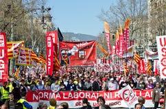 11m barcelona protestunioner Arkivbilder