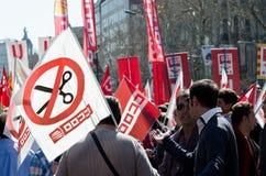 11M - de vakbonden protesteren in Barcelona Royalty-vrije Stock Fotografie