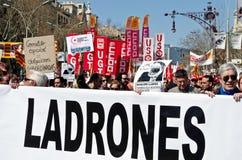 11M - de vakbonden protesteren in Barcelona Royalty-vrije Stock Foto