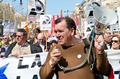 11M - de vakbonden protesteren in Barcelona Stock Foto's