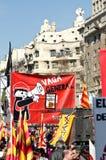 11M - i sindacati protestano a Barcellona Immagine Stock Libera da Diritti