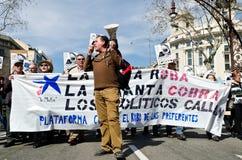 11M - les syndicats protestent à Barcelone Images libres de droits
