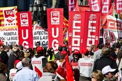 11M - protestation des syndicats à Barcelone Images stock