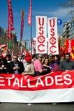 11M - protestation des syndicats à Barcelone Photos stock